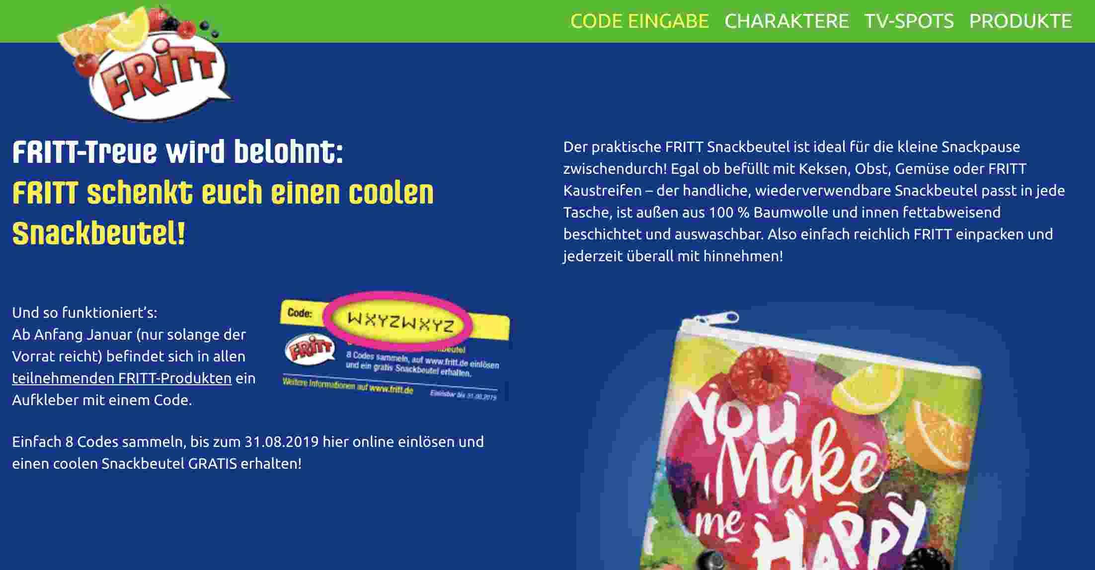 Gratis Snackbeutel Von Fritt Alle Gratisproben